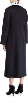 Carolina Herrera Fur-Collar Single-Breasted A-Line Long Wool Coat