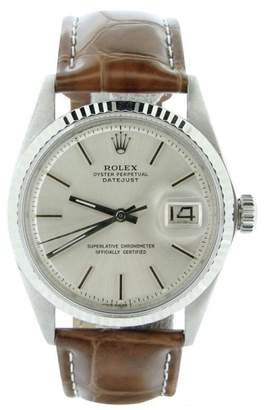 Rolex Datejust 1601 Stainless Steel and 18K White Gold Silver Dial Mens Watch $7,175 thestylecure.com