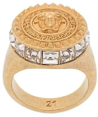 Versace medusa head crystal ring
