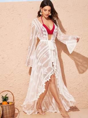 Shein Bell Sleeve Asymmetrical Hem Embroidery Mesh Longline Kimono