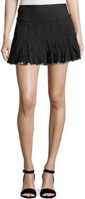 LoveShackFancy Camilla Sequin-Trim Pleated Miniskirt