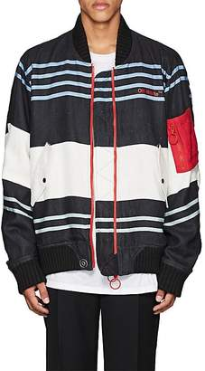Off-White MEN'S MA-1 STRIPED LINEN BOMBER JACKET
