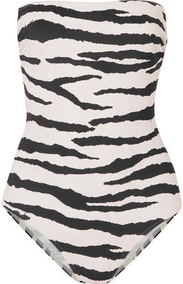 Marios Schwab On The Island By Petra Tiger-print Bandeau Swimsuit - Ivory