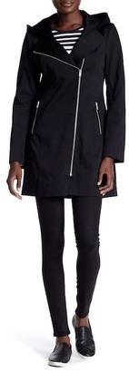 Soia & Kyo Asymmetric Zip Hooded Raincoat $295 thestylecure.com