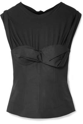 Alexander Wang Layered Gathered Cotton-poplin Bustier Top - Black