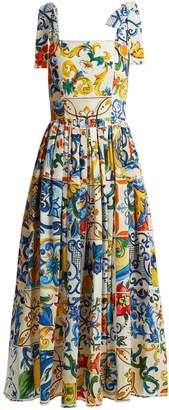 Dolce & Gabbana Majolica-print cotton-poplin midi dress
