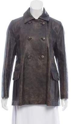 Valentino Point-Collar Leather Coat