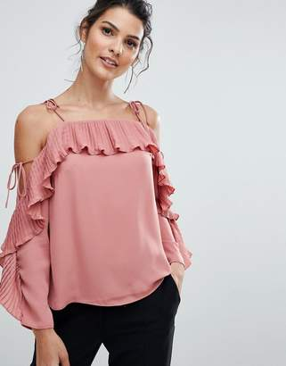 Lipsy Pleated Cold Shoulder Top