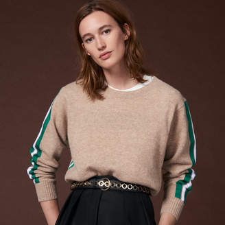 Sandro Round neck sweater with braid trim