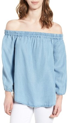 Women's Splendid Off The Shoulder Chambray Top $128 thestylecure.com
