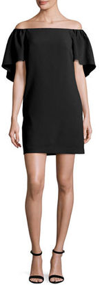 Trina Turk Zeal Crepe Off-the-Shoulder Mini Dress, Ruby $160 thestylecure.com