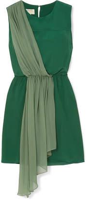 Zeus+Dione ZeusDione - Draped Silk Crepe De Chine And Georgette Mini Dress - Green