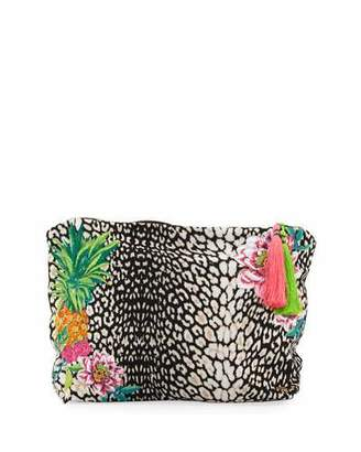PilyQ Embroidered Lined Bikini Bag $36 thestylecure.com