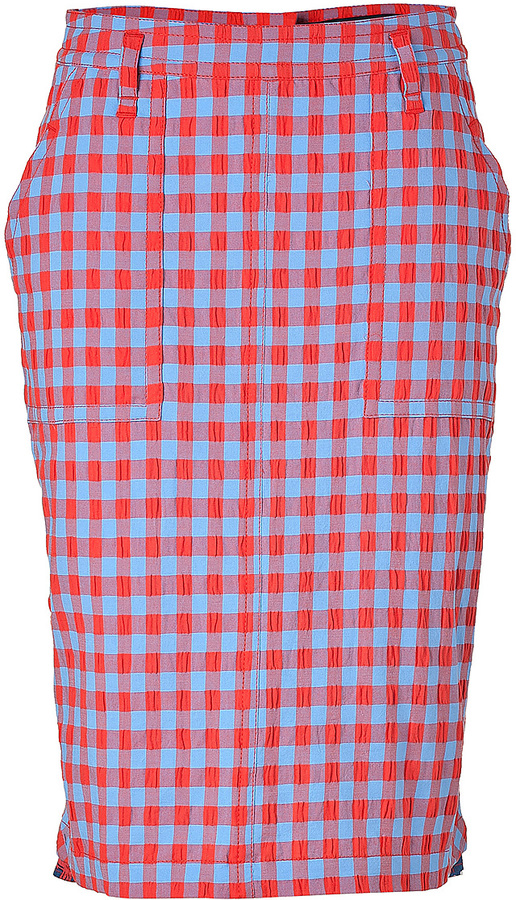 Marc by Marc Jacobs Coral Red/Multi Cotton Check Skirt