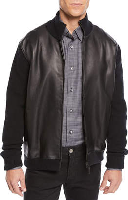 Brioni Men's Leather-Front Zip Knit Blouson Jacket