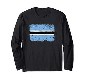 Botswana Flag Long Sleeve Distressed Vintage Style
