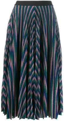 Giamba metallic pleated midi skirt