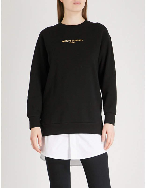 Chocoolate Slogan-embroidered cotton-jersey sweatshirt