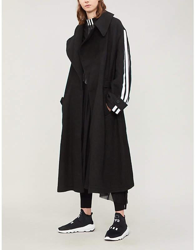 Y3 Side-stripe wool coat