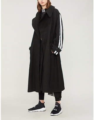 Y-3 Y3 Side-stripe wool coat