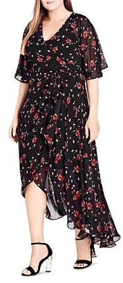 City Chic Plus Fall in Love Wrap Dress