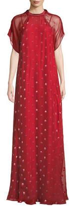 Valentino Short-Sleeve Rosebud Embroidered Column Silk Evening Gown