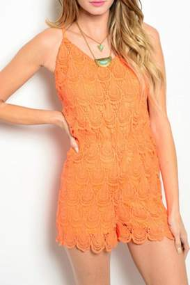 may & july Orange Lace Romper