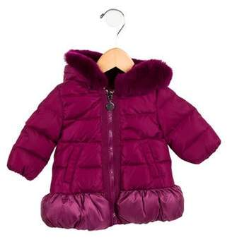 Moncler Girls' Fur-Trimmed Enfant Puffer Coat w/ Tags