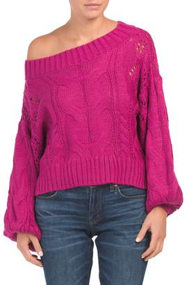 Juniors Australian Designed One Shoulder Cable Knit Sweater