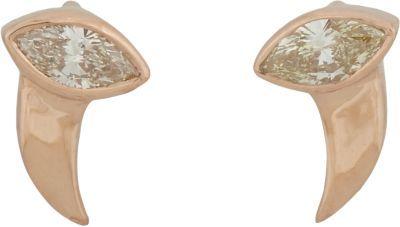 Dezso by Sara Beltran Diamond & Pink Gold Shark Tooth-shaped Hoop Earrings
