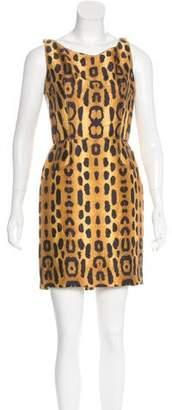 Oscar de la Renta Leopard Print Sheath Dress