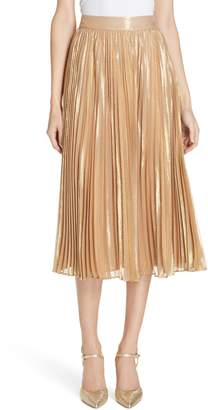 KATE SPADE NEW YORK pleat metallic pleat midi skirt