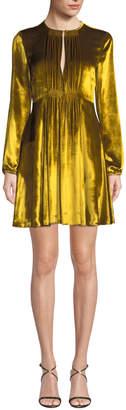RED Valentino Liquid Velvet Pleated-Bib Long-Sleeve Dress