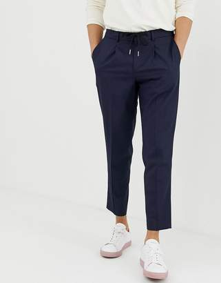 Selected ankle length smart pants with drawstring waist in navy