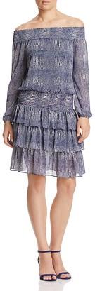 MICHAEL Michael Kors Zephyr Snake Print Off-the-Shoulder Dress $155 thestylecure.com