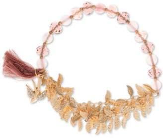 lonna & lilly Gold-Tone Bead, Tassel & Shaky Leaf Stretch Bracelet