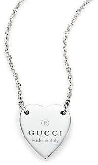 Gucci Women's Sterling Silver Signature Heart Pendant Necklace