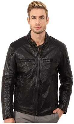 Andrew Marc Mac Lightweight Calf Moto Jacket w/ Chest Zipper Pockets Men's Coat