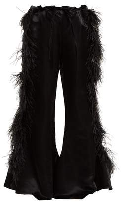Marques Almeida Marques'almeida - Feather Embellished Kick Flare Satin Trousers - Womens - Black