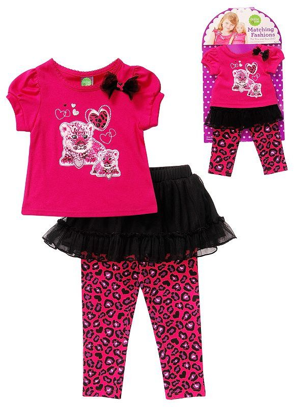 Dollie & Me Dollie and me cheetah top and skirted leggings set - toddler