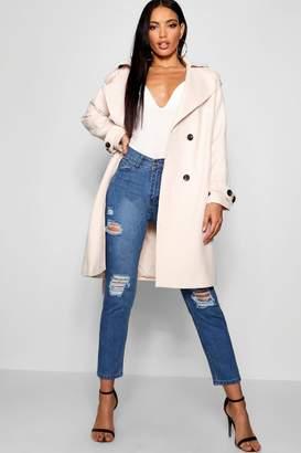 boohoo Oversized Wool Look Trench Coat