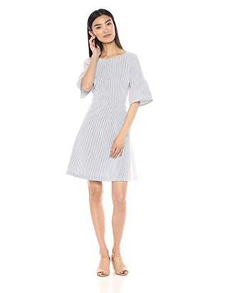 Lark & Ro Women's Stretch Long Sleeve Dress with Fit and Flare Skirt