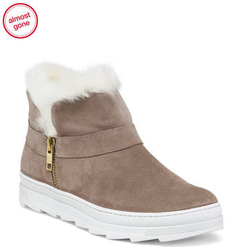 Made In Italy Sneaker Style Suede Booties