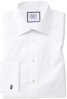 Charles Tyrwhitt Classic Fit White Cube Weave Egyptian Cotton Dress Shirt Single Cuff Size 15.5/32