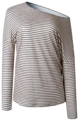 Goodnight Macaroon 'Portia' Striped Asymmetrical Long Sleeve T-Shirt (3 Colors)