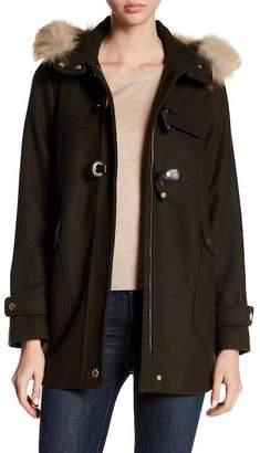 Trina Turk Elizabeth Genuine Coyote Fur Trim Coat