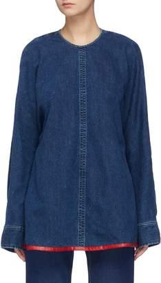 Acne Studios Contrast trim tie cutout back denim blouse