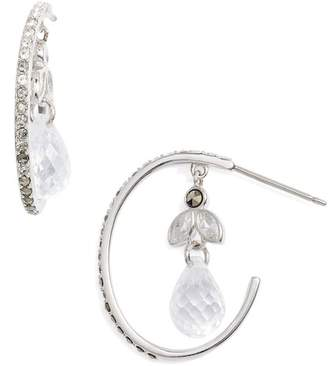 Judith Jack CZ & Marcasite Briolette Drop Hoop Earrings