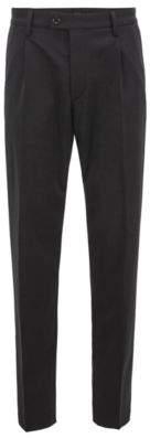 BOSS Hugo Regular-fit chinos in a mercerized stretch-wool 32R Black