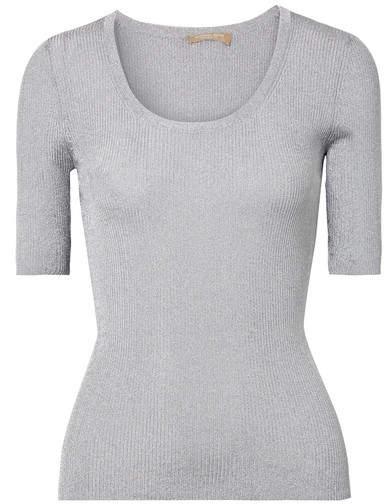 Michael Kors Metallic Ribbed-knit Sweater - Silver